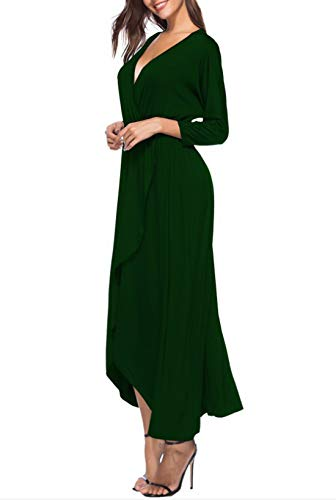 Maxi Green Casual Irregular Dress 3 Solid 4 Long PluscolorBlackSize Sleeve Haxibkena Abiti Split neck XxlDeep V thrxBsCQod