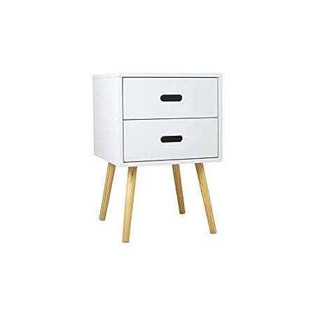 Mesita de noche 2 cajón de la mesa de noche, madera, blanca ...