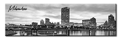 (DJSYLIFE Milwaukee Skyline Wall Art - Black and White Stretched Canvas Wall Art Prints for Bedroom or Office Decoration Ready to Hang 13.8