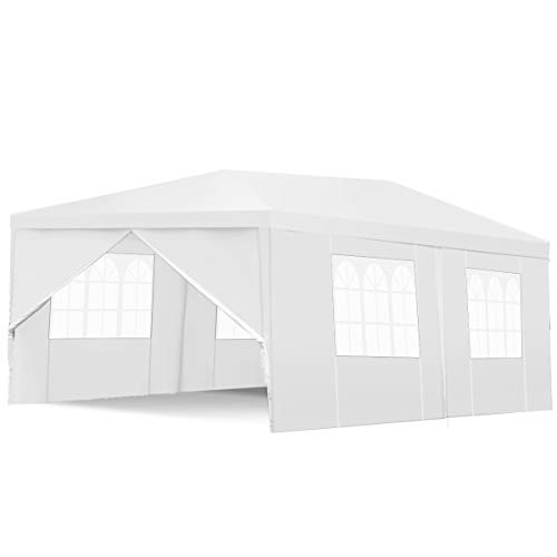 Tangkula Outdoor Tent 10x20, Heavy Duty White Party Wedding Tent Canopy with Removable Walls, Portable Canopy Shelter Gazebo Pavilion for Market, Event Car Carport Canopy