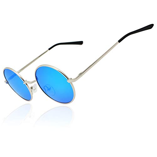 (Ronsou Lennon Style Vintage Round Polarized Sunglasses Eyewear with Mirrored or Plain Lens silver frame/light blue lens)
