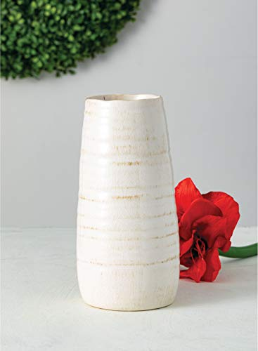 "Sullivans Ceramic Vase, 11.5 x 5 Inches, Distressed White (CM2496) - Stylish ceramic vase makes a great wedding, housewarming or birthday gift Ideal decorative touch to any home with or without floral or greenery added Product Dimensions: 5""L x 5""W x 11.5""H; Waterproof - vases, kitchen-dining-room-decor, kitchen-dining-room - 31VndHb2iXL -"