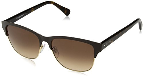 Cole Haan Women's Ch7010 Metal Clubmaster Oval Sunglasses, Brown, 55 - Haan Womens Cole Sunglasses