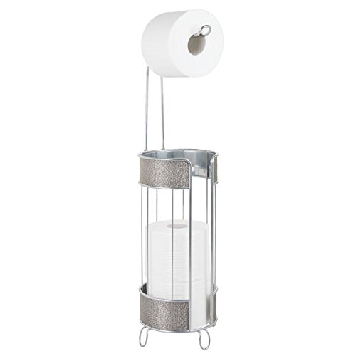 mDesign Decorative Free-Standing Wire Metal Toilet Tissue Paper Roll Holder Dispenser and Storage Organizer for Holding Extra Reserve Rolls in Bathroom - (Silver Decorative Toilet Tissue Holder)