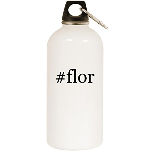 Molandra Products #Flor - White Hashtag 20oz Stainless Steel Water Bottle with Carabiner
