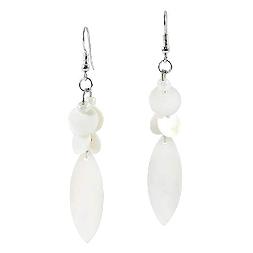 Mother Of Pearl Cluster Earring - Beach Inspired White Mother of Pearl & Fashion Beads Cluster Dangle Earrings