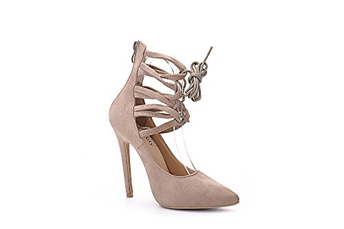 Mila Dame Ether21 Dorsay Strappy Cheville Élégance Plate-forme Dame À Talons Pompes Chaussures! Nude6.5