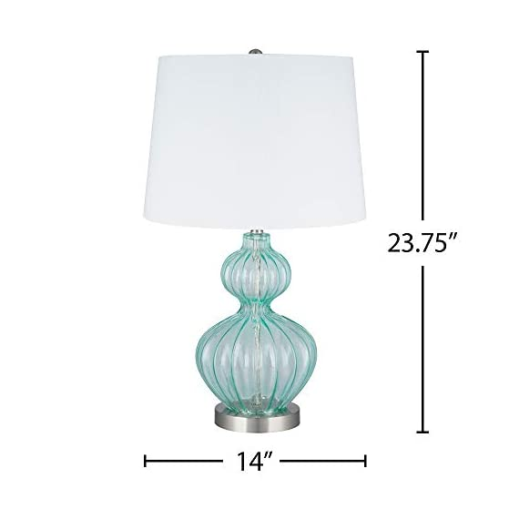 Amazon Brand – Ravenna Home Modern Table Lamp With LED Light Bulb -23.75 Inches, Brushed Nickel with Blue Glass - Beautiful blue glass and modern curves complement many décor styles Blue glass; metal base and finial with brushed nickel finish; white linen hardback shade LED bulb included - lamps, bedroom-decor, bedroom - 31Vnh0ecJnL. SS570  -