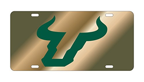 USF SOUTH FLORIDA Bulls Gold Mirrored Auto License Plate Tag Gold Mirrored License Plate