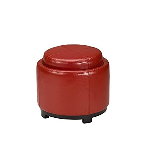 Safavieh Hudson Collection Bowery Red Leather Round Tray Ottoman (Round Tray For Ottoman)