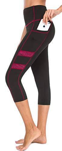 Neonysweets Women's Workout Leggings Phone Pocket Running Yoga Pants (X-Large, YogaCapris2043-Black/Rose)