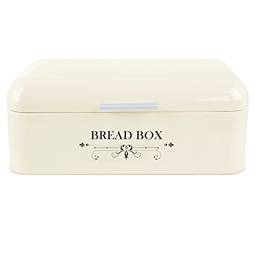 MVPOWER Bread Box Bread Bin Storage Container Extra Large Iron Bin with Powder Coating and Aluminium Alloy Handle,16.5 x 8.9 x 6.5 (Metal Bread Box)