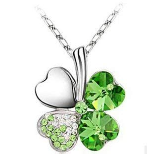 Meiliss Lucky Love Four Leaf Clovers Necklace Crystals ,Heart Crystal Pendant with Necklace(Lucky Green)