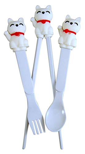 Lucky Waving Cat Cheater Chopsticks, Fork, and Spoon Silverware Gift Set for Beginners and Kids, 8 1/2 Inches from Needzo