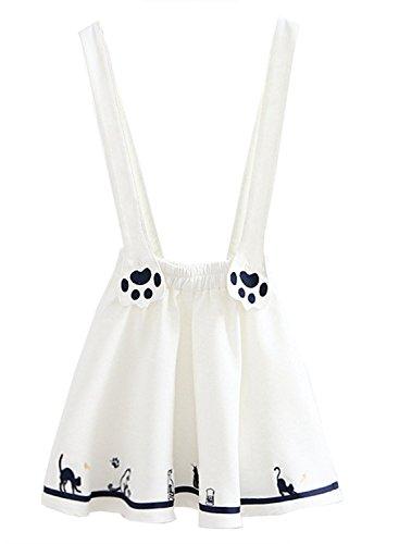 Futurino Women's Sweet Cat Paw Embroidery Pleated Mini Skirt With 2 Suspender (M, White) (Mini Suspender)