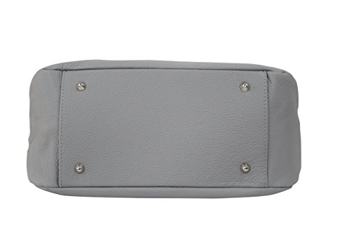 bandoulière véritable Shopper Moda GL002 à gris main cuir Sac Ambra Sac clair en 1UZnH