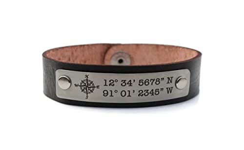 Amazoncom Custom Coordinates Mens Personalized Leather Bracelet