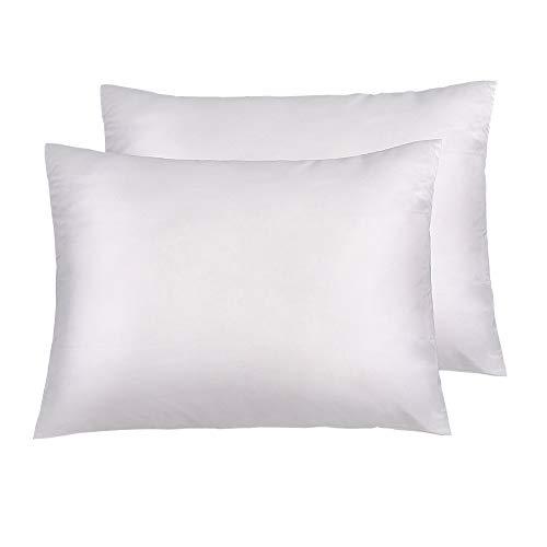 NTBAY Silky Satin Standard Pillowcases Set of 2, Super Soft and Luxury, Hidden Zipper Design, 20x 26 White