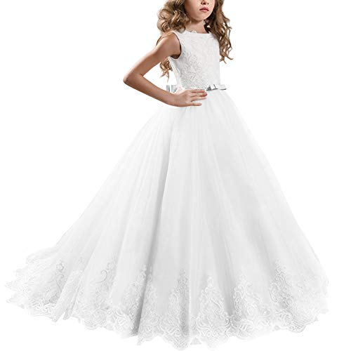 Little Big Girl Lace First Communion Wedding Dress Formal Party Pageant Dance Evening Maxi Ball Gown Floor Length Flower Girls Dress White 10-11 Years