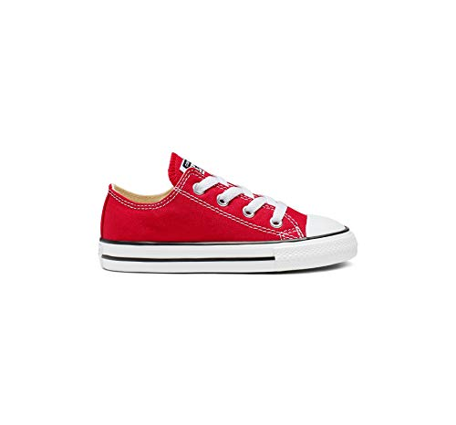 Converse Kids' Chuck Taylor All Star Canvas Low Top Sneaker, red, 5 M US Toddler