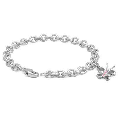 (6 3/4 In Sterling Silver Pink Sapphire Butterfly Charm Bracelet For)