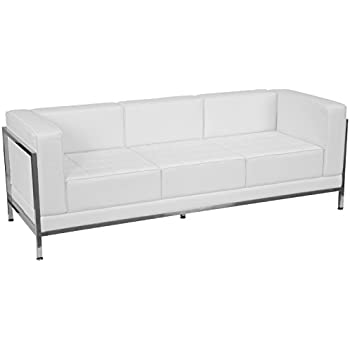 Flash Furniture HERCULES Imagination Series Contemporary Melrose White  Leather Sofa With Encasing Frame