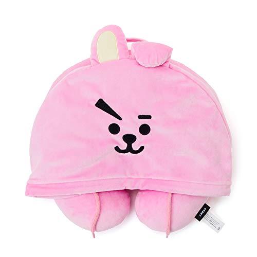 LINE FRIENDS BT21 Official Merchandise Cooky Character Hooded Travel Neck Pillow, Pink