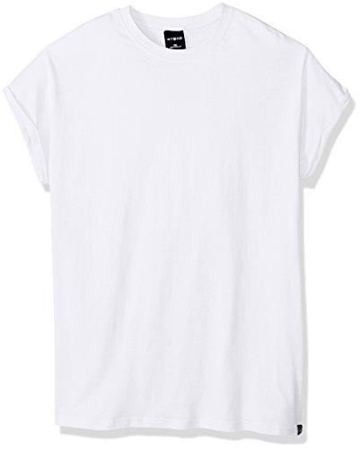 Drop Sleeve T-shirt (WT02 Men's Rolled-up Short Sleeve Basic Drop Cap Tee, White, Medium)