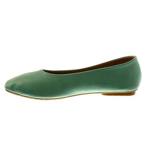 Shoes Heel cm Soft 1 Ballet on Turquoise Flat Shoes Flat Fashion Women's Slip Angkorly qwTvUXfpv
