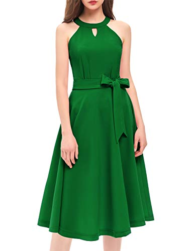 DRESSTELLS Women's Cocktail Party Dress Bridesmaid Swing Vintage Tea Dress with Cap-Sleeves Green XL