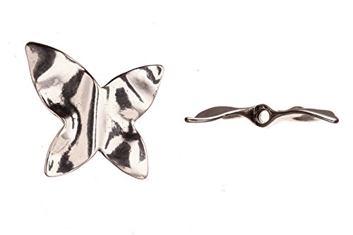 Foil Textured Butterfly Antique Silver-Plated Pendant 35X5.5mm sold per 1pcs - Silver Foil Butterfly Bead