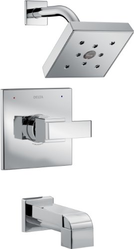 Delta Faucet Ara 14 Series Single-Function Tub and Shower Trim Kit with Single-Spray H2Okinetic Shower Head, Chrome T14467 (Valve Not Included)