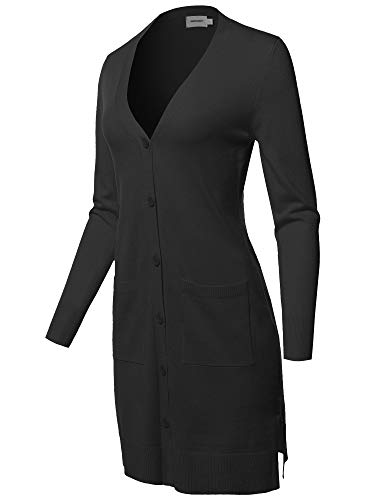 Casual Button Up Long-Line Sweater Viscose Knit Cardigan Black M ()