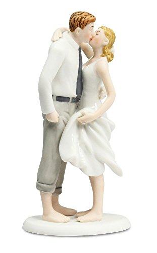 Wedding Collectibles Personalized Beach Get Away Wedding Cake Topper: Bride Hair: BROWN - Groom Hair: (Blonde Groom)