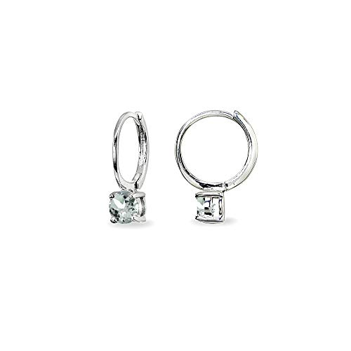 Aquamarine Hoop Earring - Sterling Silver Aquamarine 5mm Solitaire Small Round Huggie Hoop Earrings for Women Teen Girls