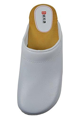 Buxa Zuecos de Cuero Unisexo con suela de Madera y el relleno. Negro Blanco