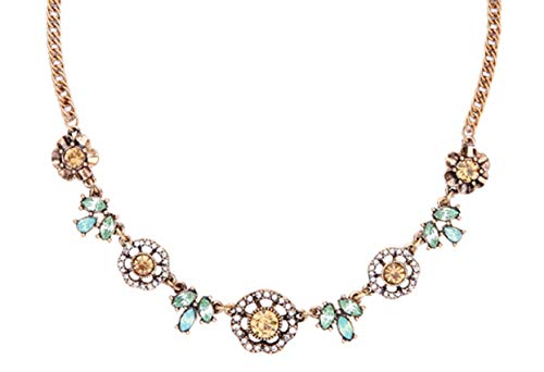 NORTHSTAR PEARLS AND JEWELRY: Charming Crystal Flowers Necklace Antique Gold-Tone Chain. Vintage Gold Color Cute Chain Necklace Choker with Pastel Colors. (Pastel Color Necklace)
