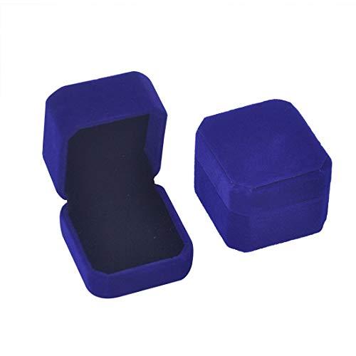 iSuperb Set of 2 Blue Velvet Couple Ring Box Earring Jewelry Case Gift Boxes 2.2x1.9x1.6inch (2Pcs Ring Box) (Ring Box Blue)
