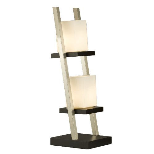NOVA of California 11813 Escalier Contemporary Wood Table Lamp, Dark Brown and Silver Finish, Ambient Light For Modern Living Rooms And Bedrooms