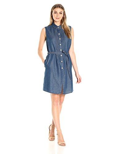 Bandolino Women's Clarice Denim Belted Sleeveless Dress, Denali, -