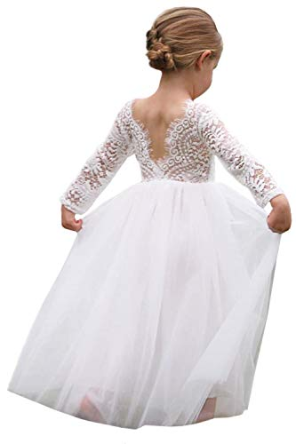 2Bunnies Girl Peony Lace Back A-Line Straight Tutu Tulle Party Flower Girl Dresses (White 3/4 Sleeve Maxi, -