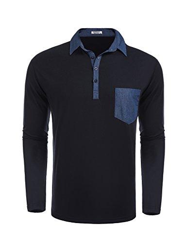 Collar Long Sleeve Shirt (HOTOUCH Men's Classic Fit Solid Long Sleeve Pique Polo Shirt (Navy Blue XL))