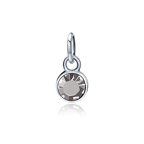 YJT April Birthstone Charms for Bracelet Necklace Jewelry Making Silver DIY Crystal for Women Girls 6mm