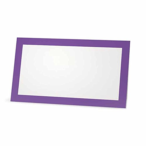 Amethyst Place Cards - FLAT or TENT Style - 10 or 50 PACK - White Blank Front Solid Color Border Placement Table Name Dinner Seat Stationery Party Supplies Occasion Event Holiday (50, FLAT STYLE) by Stationery Creations