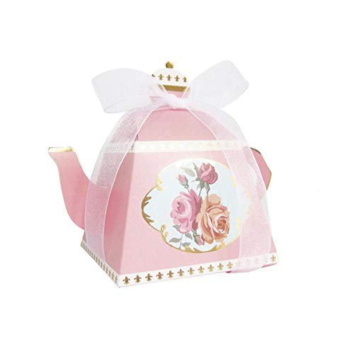 AISHOPE 50PCS Mini Teapot Wedding Favor Boxes Bonbonniere Gift Candy Box with Ribbons for Wedding, Birthday Party Decorations, Pink ()