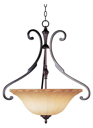 Three Light Oil Rubbed Bronze Wilshire Glass Up Pendant