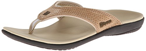 Spenco Women's Yumi Snake Flip Flop, Dark Tan, 8 M US