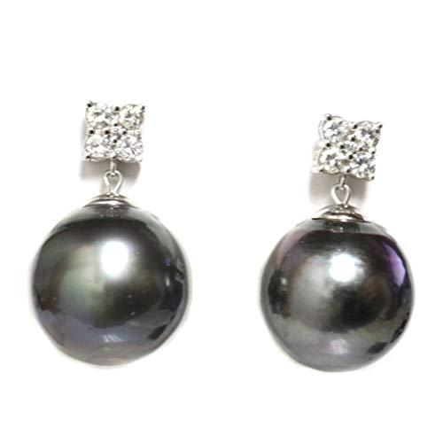 (18k Gold - Tahitian South Sea Pearl Diamond Dangle Earrings 16 MM Black)