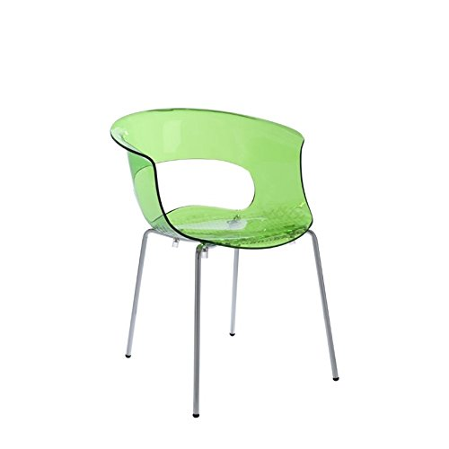 Eurø Style Miss B Antishock Transparent Side Dining Chair, Set of 4, Lime Green