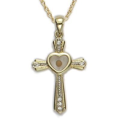 24K Gold Plate over Sterling Silver Cross with Mustard Seed Heart Center, 1 1/4 Inch